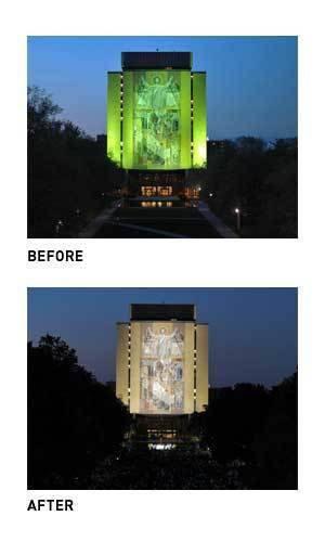 Hesburgh Library before and after installation of LED lights